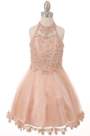 Girls Short Illusion Halter Dress by Cinderella Couture 8500-Girls Formal Dresses-ABC Fashion