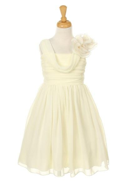 Girls Short Ivory Dresses with Ruffle Flowers-Girls Formal Dresses-ABC Fashion