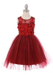 Girls Short Lace Dress with 3D Flowers by Cinderella Couture 9032-Girls Formal Dresses-ABC Fashion