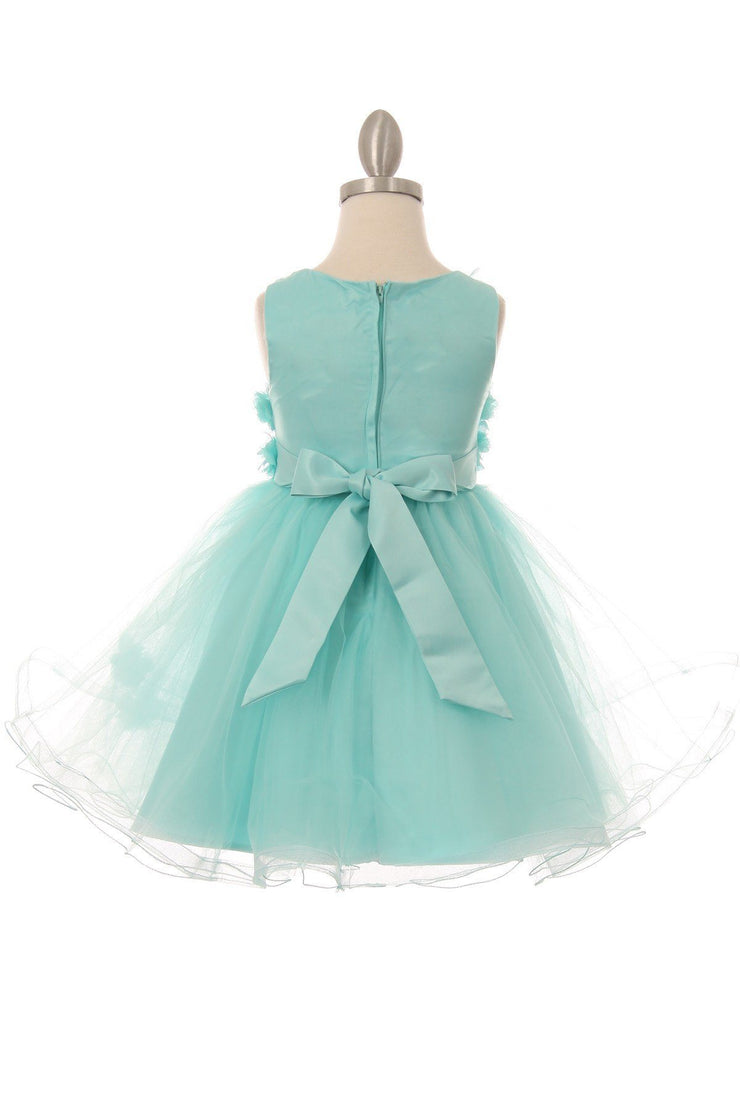 Girls Short Layered Dress with 3D Flowers by Cinderella Couture 9084-Girls Formal Dresses-ABC Fashion