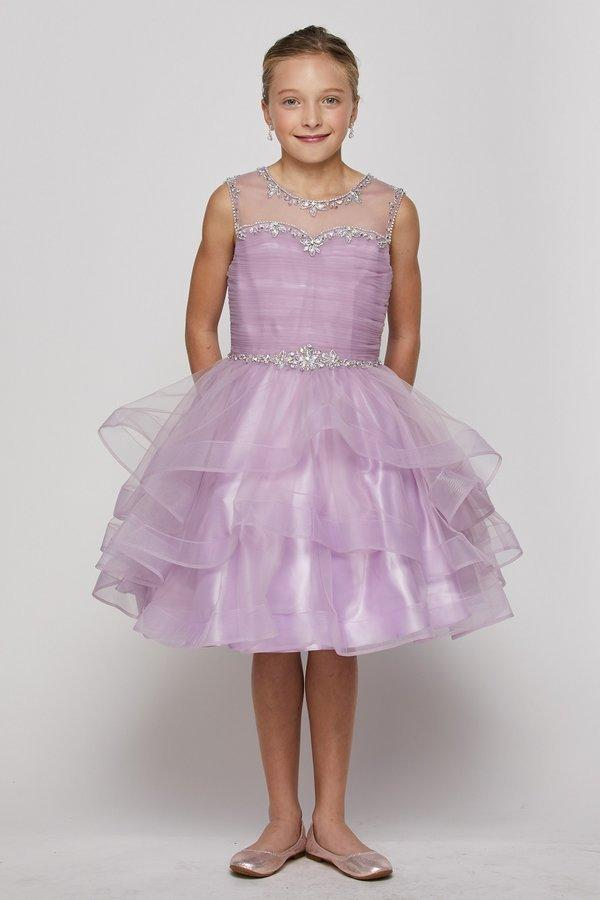Girls Short Layered Dress with Beaded Bodice by Cinderella Couture 5050-Girls Formal Dresses-ABC Fashion