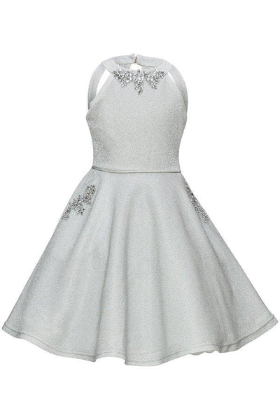 Girls Short Metallic Halter Dress by Cinderella Couture 5085-Girls Formal Dresses-ABC Fashion