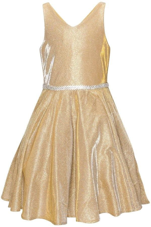 Girls Short Metallic V-Neck Dress by Cinderella Couture 8013