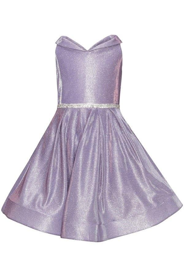 Girls Short Off Shoulder Metallic Dress by Cinderella Couture 8012