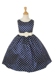 Girls Short Pink Polka Dot Dresses-Girls Formal Dresses-ABC Fashion