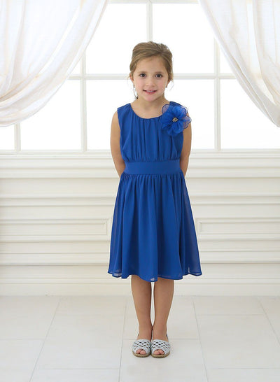 Girls Short Pleated Blue Chiffon Dress by Calla C620-Girls Formal Dresses-ABC Fashion