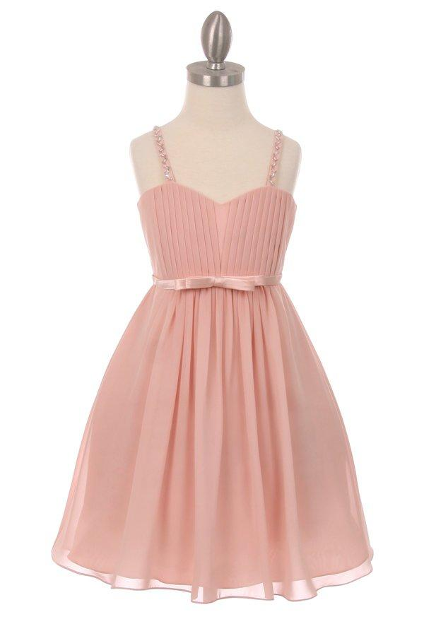 Girls Short Pleated Chiffon Dress by Cinderella Couture 5012-Girls Formal Dresses-ABC Fashion
