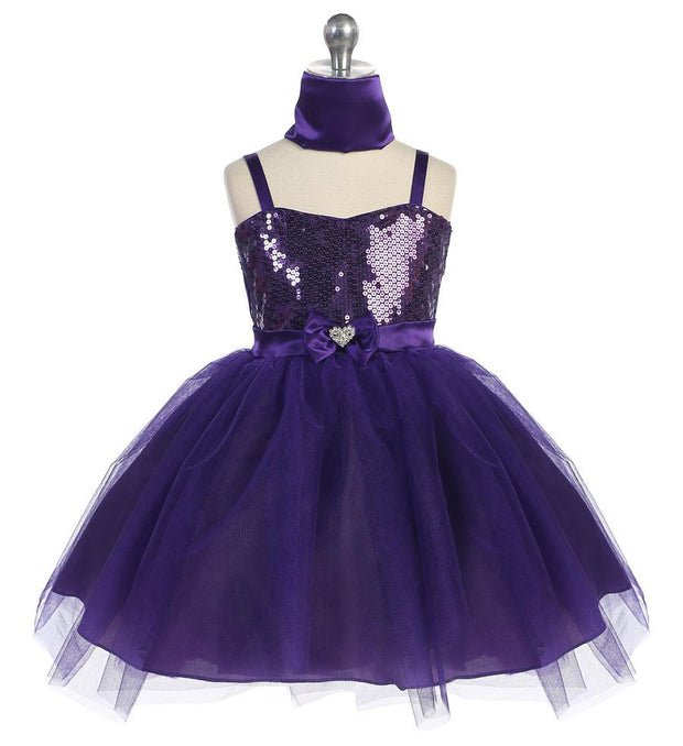 Girls Short Purple Tulle Dress with Sequined Top by Calla 750-Girls Formal Dresses-ABC Fashion