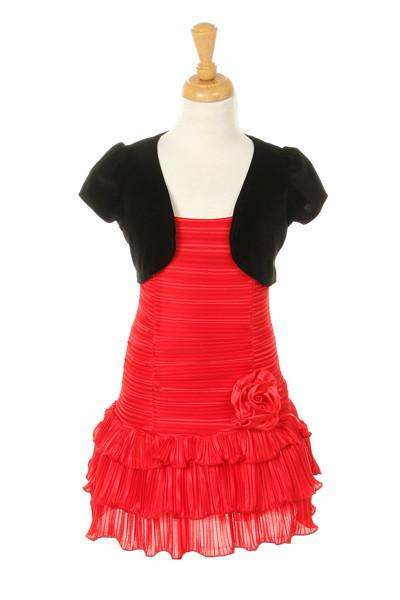 Girls Short Red Dresses with Black Bolero-Girls Formal Dresses-ABC Fashion