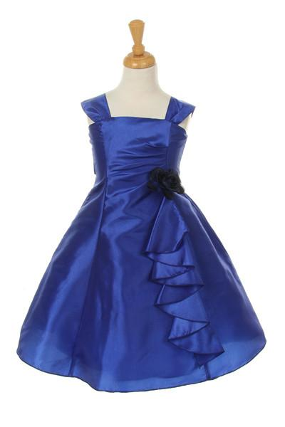 Girls Short Royal Blue Dresses with Ruffled Skirt-Girls Formal Dresses-ABC Fashion