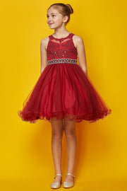 Girls Short Ruffled Dress with Beaded Bodice by Cinderella Couture 5013-Girls Formal Dresses-ABC Fashion
