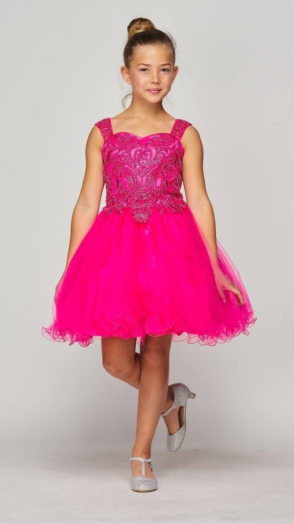 Girls Short Ruffled Dress with Beaded Bodice by Cinderella Couture 5080