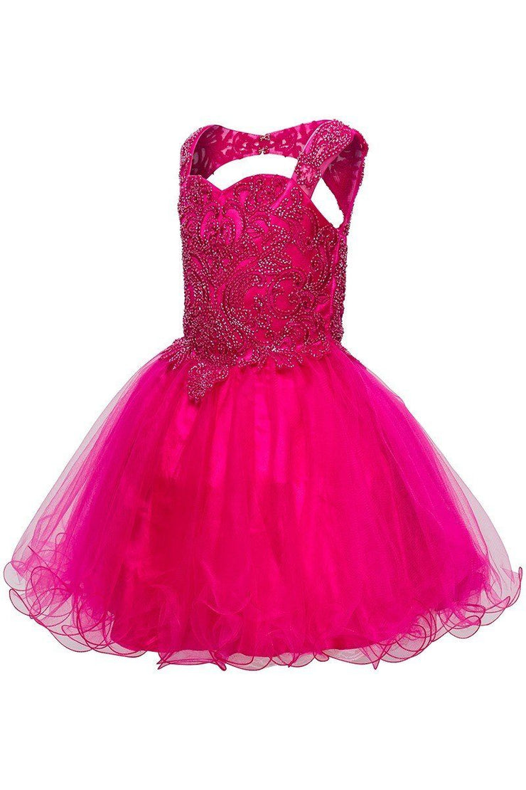 Girls Short Ruffled Dress with Beaded Bodice by Cinderella Couture 5080-Girls Formal Dresses-ABC Fashion