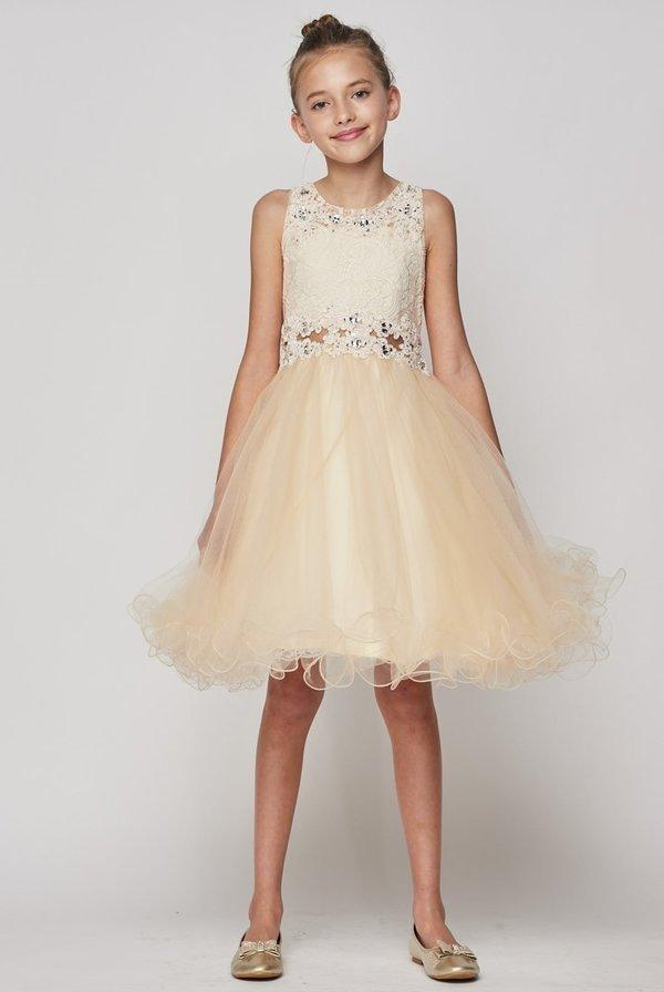 Girls Short Ruffled Dress with Lace Bodice by Cinderella Couture 5010-Girls Formal Dresses-ABC Fashion