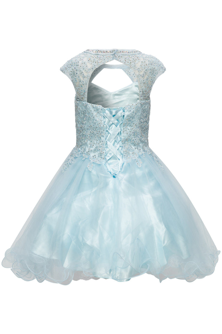 Girls Short Ruffled Dress with Lace Bodice by Cinderella Couture 5083-Girls Formal Dresses-ABC Fashion
