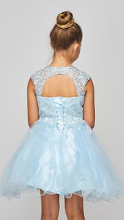 Girls Short Ruffled Dress with Lace Bodice by Cinderella Couture 5083