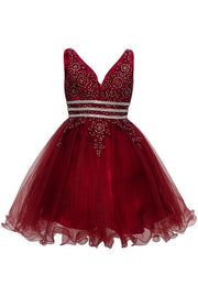 Girls Short Ruffled V-Neck Dress with Embellished Bodice-Girls Formal Dresses-ABC Fashion