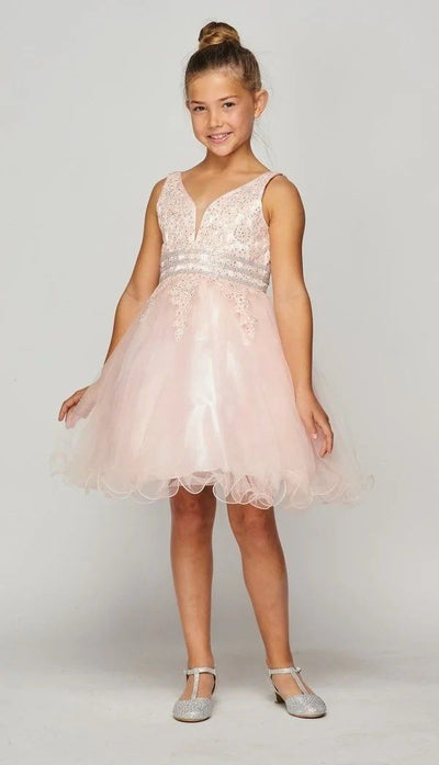 Girls Short Ruffled V-Neck Dress with Embellished Bodice