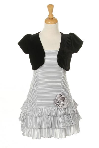 Girls Short Silver Dresses with Black Bolero-Girls Formal Dresses-ABC Fashion