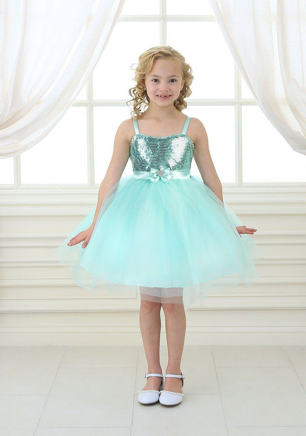 Girls Short Silver Tulle Dress with Sequined Top by Calla 750-Girls Formal Dresses-ABC Fashion