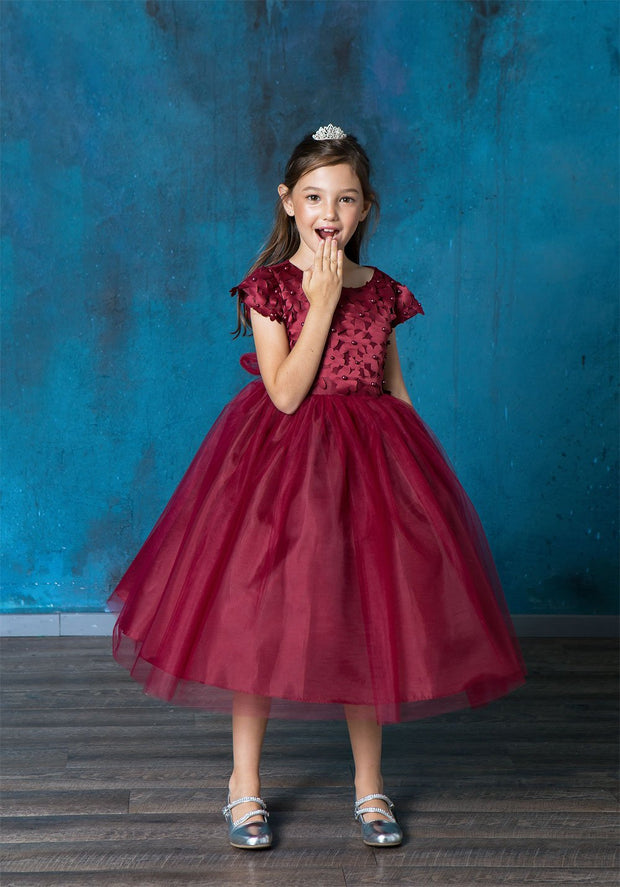 Girls Short Sleeve Dress with Floral Appliques by Calla D799