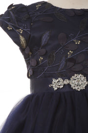 Girls Short Sleeve Gown with Embroidered Bodice by Cinderella Couture 9105-Girls Formal Dresses-ABC Fashion
