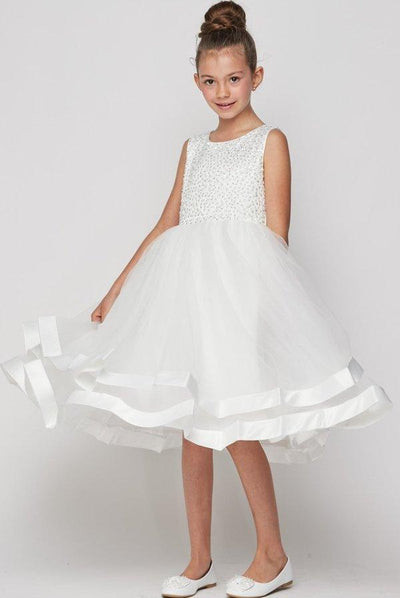 Girls Short Sleeveless Dress with Sequin Bodice by Cinderella Couture 9031-Girls Formal Dresses-ABC Fashion