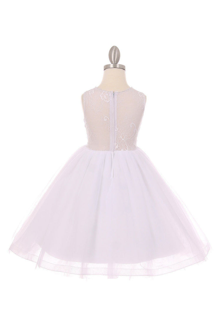Girls Short Sleeveless Lace Dress by Cinderella Couture 9029-Girls Formal Dresses-ABC Fashion