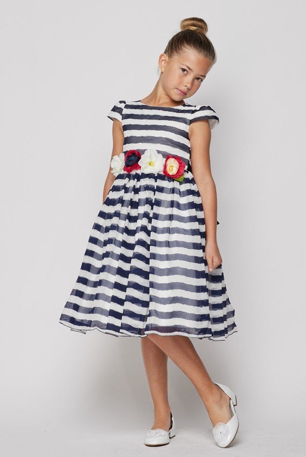Girls Short Striped Dress with Flower Sash by Cinderella Couture 9079-Girls Formal Dresses-ABC Fashion