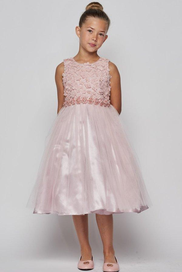 Girls Short Tulle Dress with 3D Flowers by Cinderella Couture 5059-Girls Formal Dresses-ABC Fashion