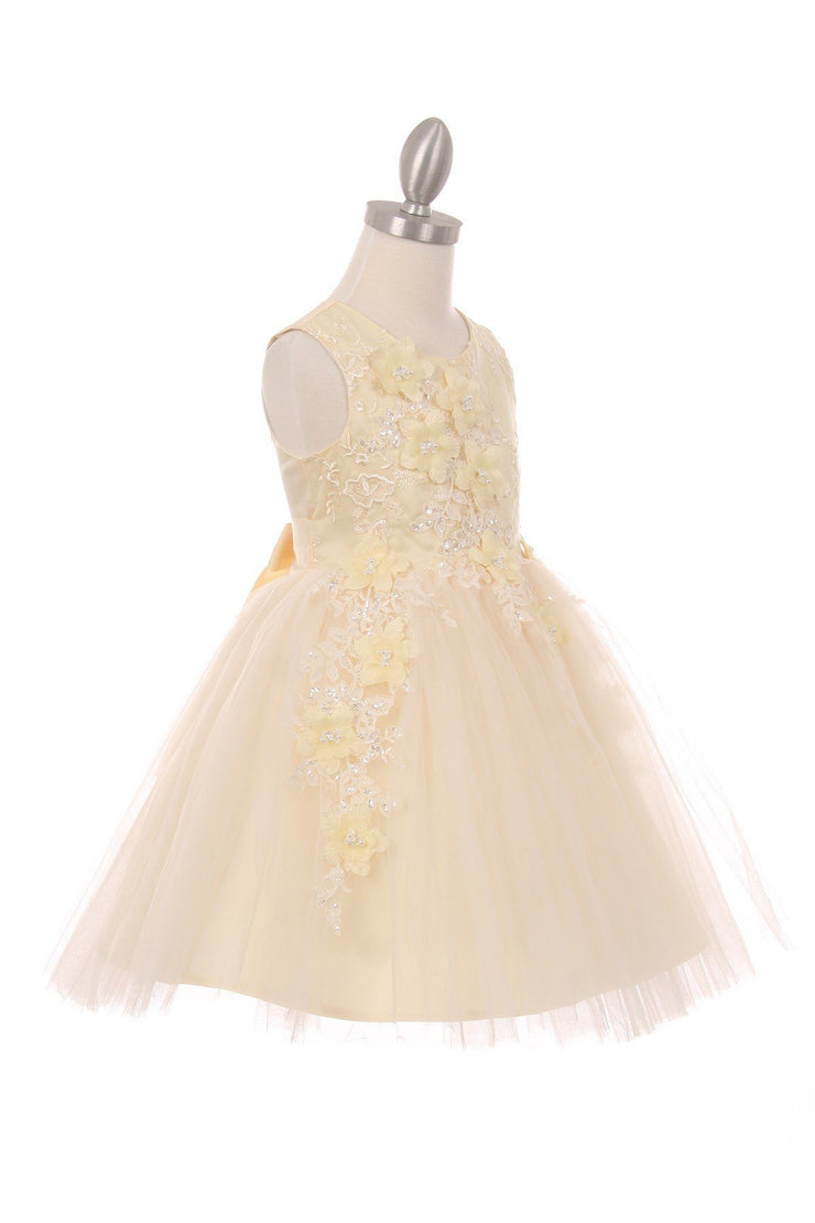 Girls Short Tulle Dress with 3D Flowers by Cinderella Couture 9040-Girls Formal Dresses-ABC Fashion