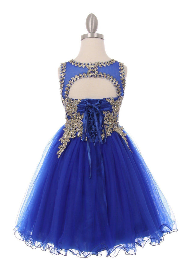 Girls Short Tulle Dress with Gold Applique Top by Cinderella Couture 5017-Girls Formal Dresses-ABC Fashion