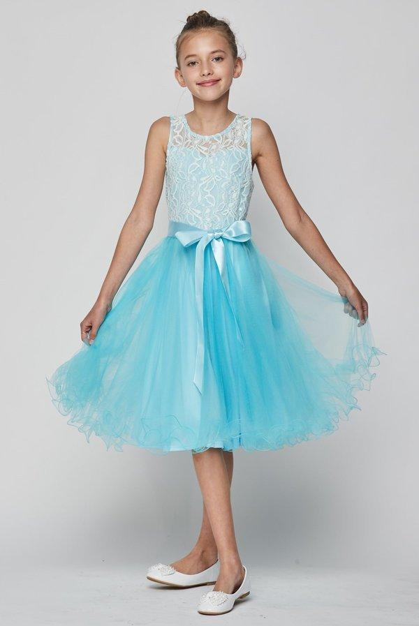 Girls Short Tulle Dress with Lace Bodice by Cinderella Couture 5002-Girls Formal Dresses-ABC Fashion