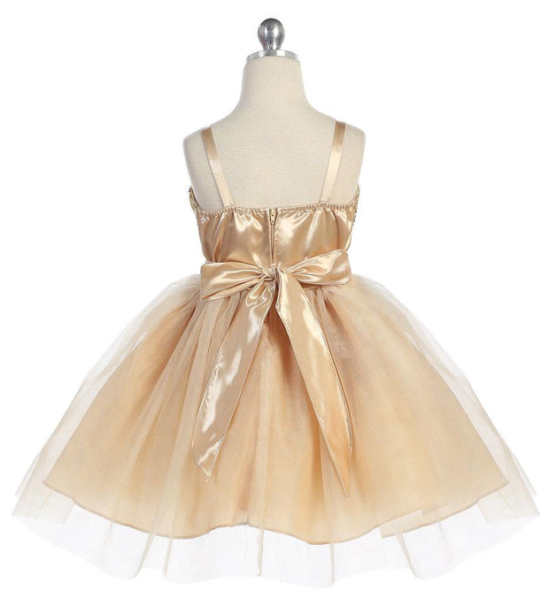 Girls Short Tulle Dress with Sequined Top by Calla 750-Girls Formal Dresses-ABC Fashion