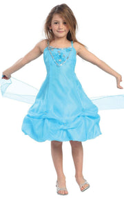 Girls Short Turquoise Dresses with Sash and Beads-Girls Formal Dresses-ABC Fashion