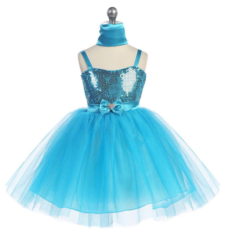 Girls Short Turquoise Tulle Dress with Sequined Top by Calla 750-Girls Formal Dresses-ABC Fashion