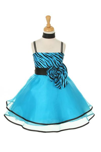 Girls Short Turquoise Zebra Print Dresses with Shawl-Girls Formal Dresses-ABC Fashion