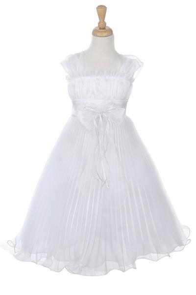 Girls Short White Dresses with Flower Corsage - 7 Colors-Girls Formal Dresses-ABC Fashion