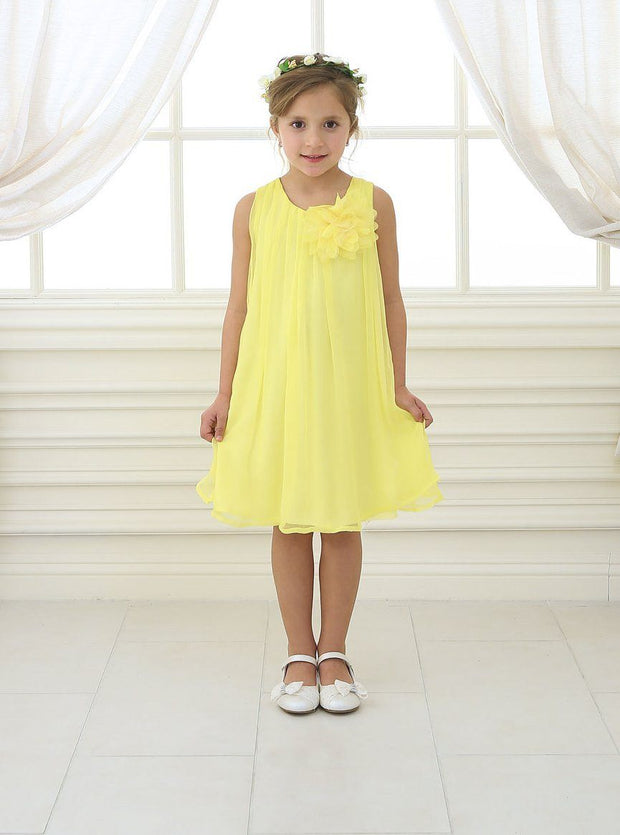 Girls Short Yellow Chiffon Dress with Removable Flower by Calla CJ104-Girls Formal Dresses-ABC Fashion