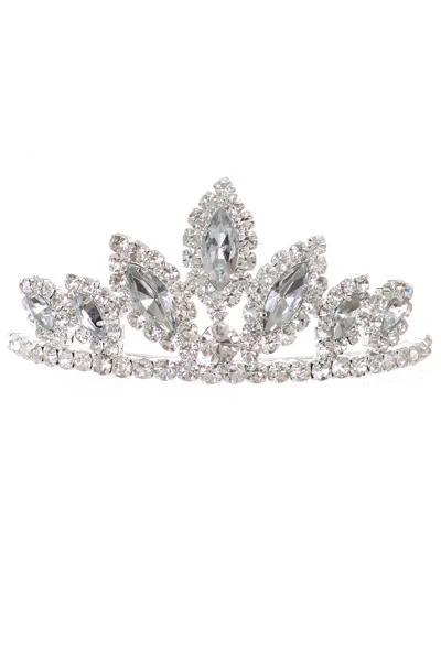 Girls Silver Stone Mini Silver Tiara with Comb