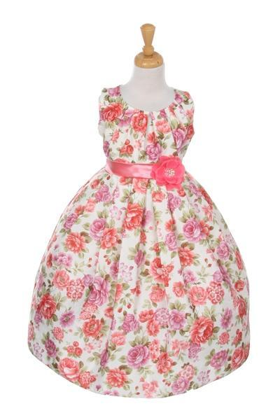 Girls Sleeveless Coral Floral Print Dress by Cinderella Couture ME732-Girls Formal Dresses-ABC Fashion