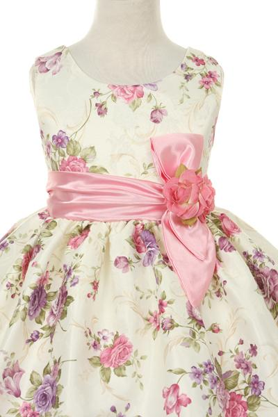 Girls Sleeveless Floral Print Dress by Cinderella Couture ME529-Girls Formal Dresses-ABC Fashion