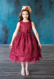 Girls Sleeveless Sequin Floral Lace Dress by Calla D805