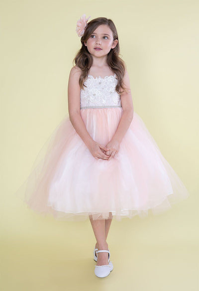 Girls Sleeveless Tea Length Dress with Floral Appliques by Calla D776-Girls Formal Dresses-ABC Fashion