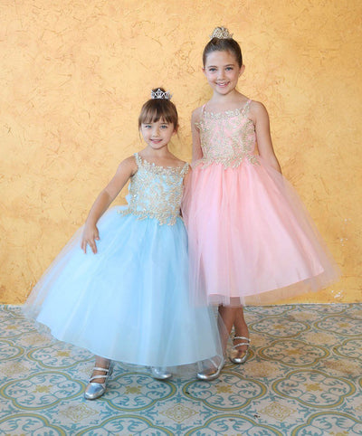 Girls Sleeveless Tulle Dress with Leaf Appliques by Calla D778-Girls Formal Dresses-ABC Fashion