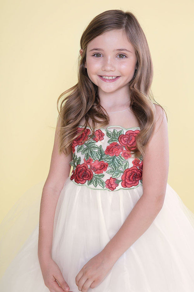 Girls Sleeveless Tulle Dress with Red Floral Appliqued Bodice-Girls Formal Dresses-ABC Fashion