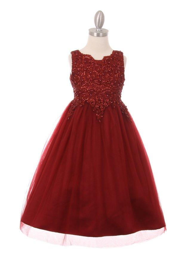Girls Sleeveless Tulle Dress with Sequin Bodice by Cinderella Couture 5008-Girls Formal Dresses-ABC Fashion