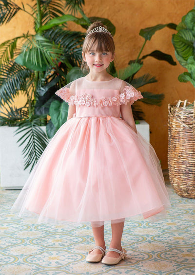 Girls Tea Length Dress with Floral Applique Cape by Calla D788-Girls Formal Dresses-ABC Fashion