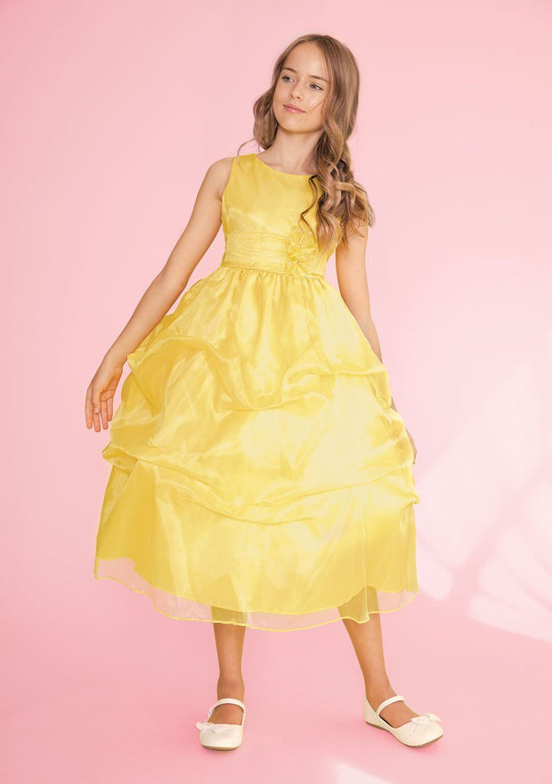 Girls Tea Length Dress with Floral Appliqued Pick-Up Skirt-Girls Formal Dresses-ABC Fashion