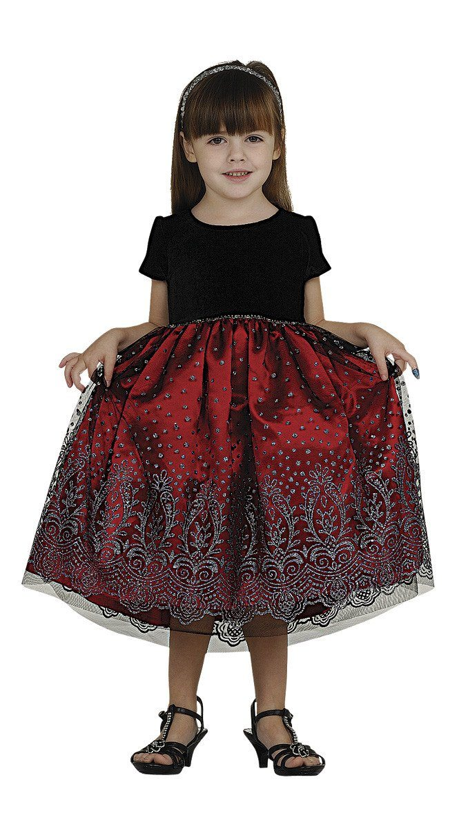 Girls Tea Length Dresses with Beaded Floral Design-Girls Formal Dresses-ABC Fashion